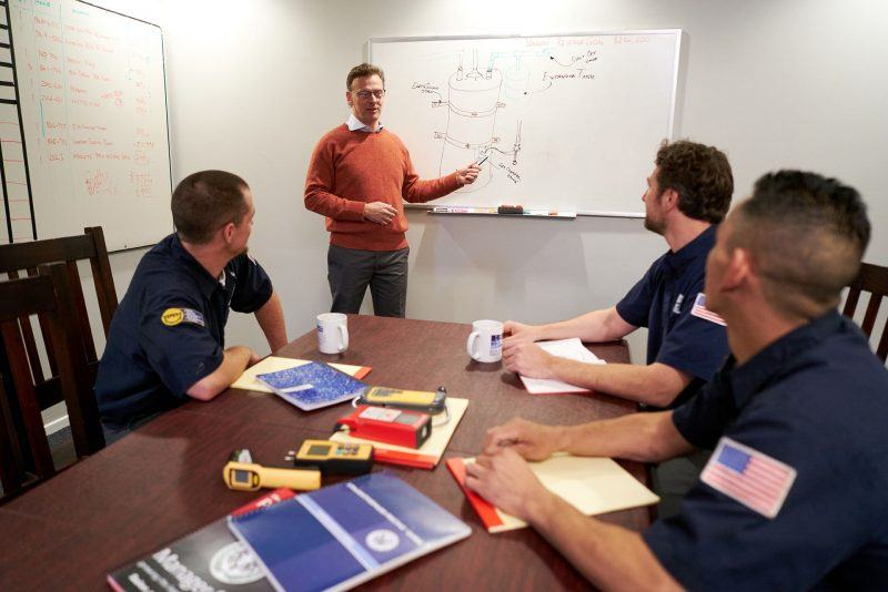 plumbing apprentices learning from teacher